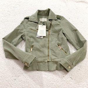 Zara olive star studded moto utility jacket